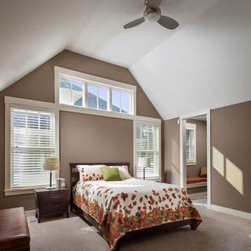 Master Bedroom with Vaulted Ceiling and Clear Story Window