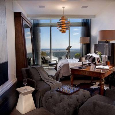 Eclectic master dark wood floor bedroom photo in Orlando with white walls