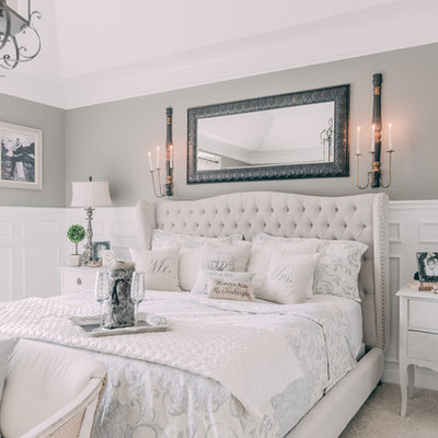 Bedroom - large shabby-chic style master carpeted bedroom idea in Nashville with gray walls