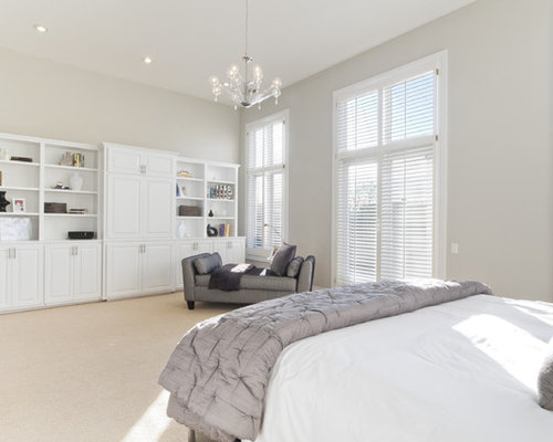 Transitional master bedroom photo in Chicago with gray walls and carpet - Stonington Gray Houzz