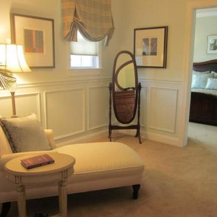 Small traditional master bedroom in Philadelphia with yellow walls, carpet and no fireplace.