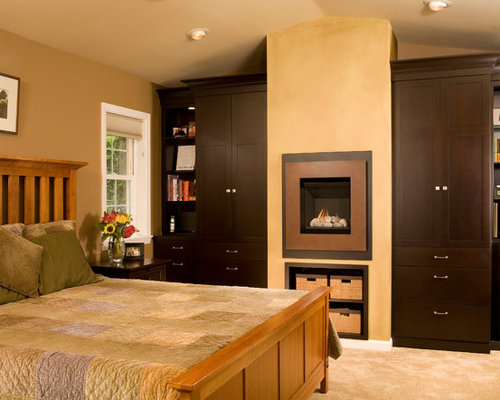 Traditional Master Carpeted Bedroom Idea In Seattle With Brown Walls And A  Standard Fireplace