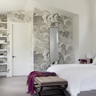 Bedroom - contemporary master carpeted bedroom idea in San Francisco with white walls and no fireplace