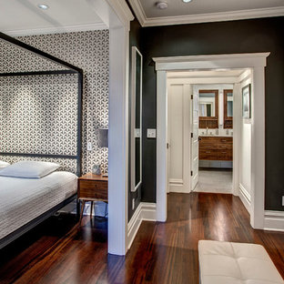 Inspiration for a transitional master dark wood floor bedroom remodel in Seattle with multicolored walls