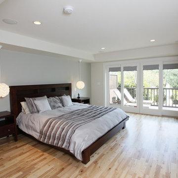 master suite build out, master bedroom, patio doors, deck