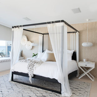 Design ideas for an expansive contemporary master bedroom in Gold Coast - Tweed with carpet, beige floor and beige walls.