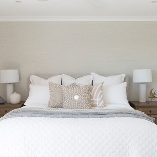 Design ideas for a large beach style master bedroom in Gold Coast - Tweed with carpet, grey floor and white walls.