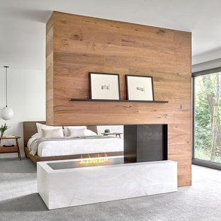 Example of a large trendy master carpeted and gray floor bedroom design in Chicago with white walls and a two-sided fireplace