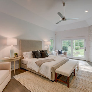 Design ideas for a large transitional master bedroom in New York with white walls, a stone fireplace surround, dark hardwood floors and a ribbon fireplace.