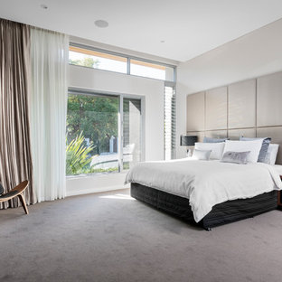 This is an example of an expansive contemporary master bedroom in Perth with grey walls, carpet, no fireplace and grey floor.
