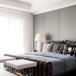 This is an example of a large contemporary master bedroom in Melbourne with grey walls, carpet and grey floor.