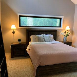 Foto de dormitorio principal, campestre, de tamaño medio, con chimeneas suspendidas