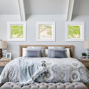 Bedroom - large traditional master dark wood floor and brown floor bedroom idea in Minneapolis with gray walls