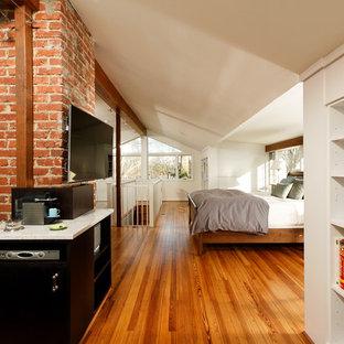 Ejemplo de dormitorio tipo loft, tradicional renovado, pequeño, con paredes blancas, suelo de mármol y chimenea lineal