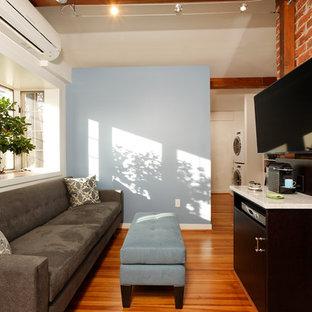 Идея дизайна: маленькая спальня на антресоли в стиле современная классика с коричневыми стенами, паркетным полом среднего тона и горизонтальным камином