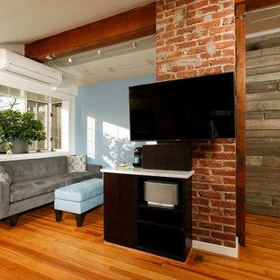 Ejemplo de dormitorio tipo loft, tradicional renovado, pequeño, con paredes azules, suelo de madera en tonos medios y chimenea lineal