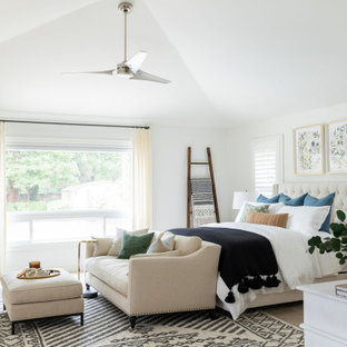 Bedroom - large transitional master carpeted and beige floor bedroom idea in Sacramento with white walls, a standard fireplace and a stone fireplace