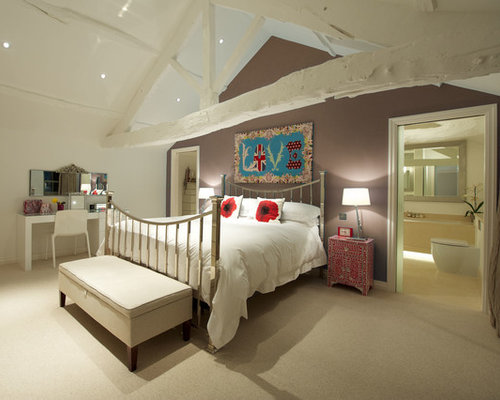 Inspiration For A Contemporary Master Bedroom Remodel In Other With Brown  Walls And Carpet Part 51