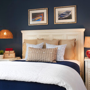 Inspiration For A Mid Sized Beach Style Bedroom Remodel In Boston With Blue Walls