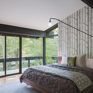 Inspiration for a midcentury bedroom in Philadelphia with multi-coloured walls and medium hardwood floors.