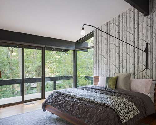 Master bedroom wallpaper home design ideas pictures - Mid century modern master bedroom ...