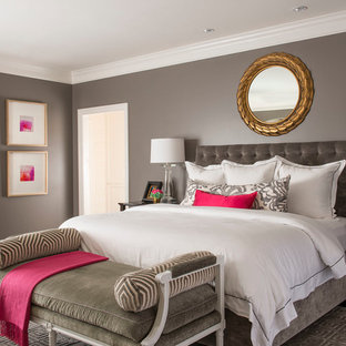 Inspiration For A Timeless Dark Wood Floor Bedroom Remodel In Dallas With Gray Walls