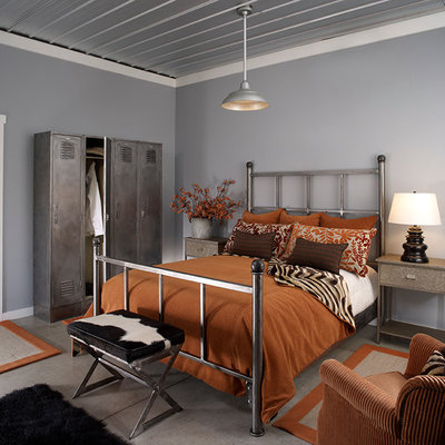 Trendy guest bedroom photo in Other with gray walls and no fireplace