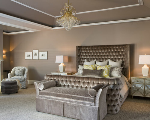 Example Of A Trendy Carpeted Bedroom Design In DC Metro With Gray Walls