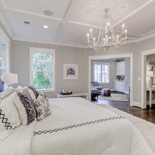 Ispirazione per una grande camera matrimoniale minimal con pareti grigie, pavimento in compensato e nessun camino
