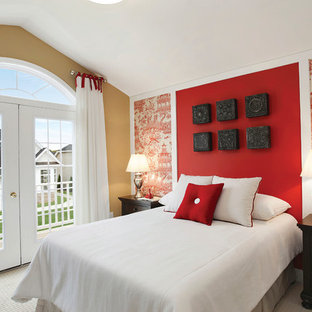 Photo of a mid-sized asian guest bedroom in New York with red walls and carpet.