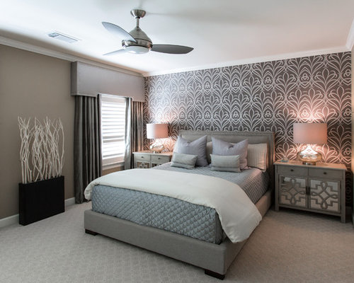Perfect Inspiration For A Mid Sized Transitional Guest Carpeted Bedroom Remodel In  Houston With Gray Walls