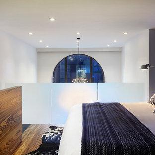ニューヨークの小さいコンテンポラリースタイルのおしゃれなロフト寝室 (青い壁、無垢フローリング) のインテリア