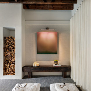 Inspiration for a mid-sized contemporary guest bedroom in New York with white walls, carpet, a hanging fireplace, a plaster fireplace surround and blue floor.