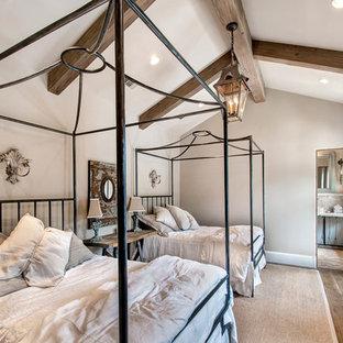 Foto di una camera da letto mediterranea con pareti grigie e parquet scuro