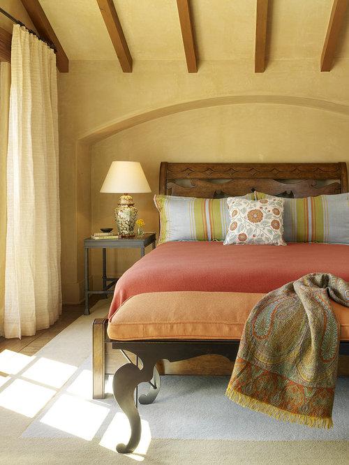Mediterranean bedroom idea in San Francisco with yellow walls