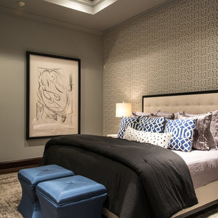 Inspiration for a mediterranean carpeted bedroom remodel in Houston with gray walls