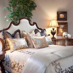 Mediterranean - Beautiful upholstered headboard with luxury linen bedding