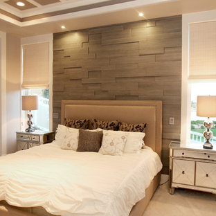 Bedroom - contemporary master carpeted bedroom idea in Salt Lake City with beige walls