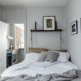 Inspiration for a small eclectic master medium tone wood floor bedroom remodel in New York with gray walls
