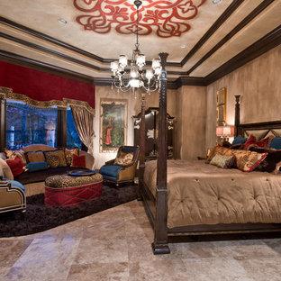Bedroom - traditional master travertine floor bedroom idea in Houston with beige walls