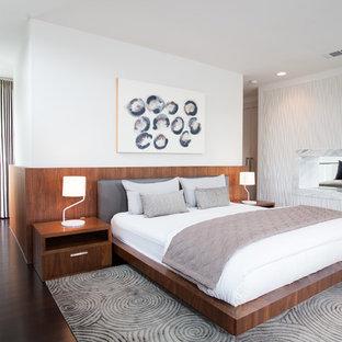 Immagine di una camera da letto contemporanea con pareti bianche, parquet scuro e camino bifacciale