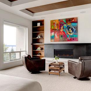 シアトルのコンテンポラリースタイルのおしゃれな主寝室 (白い壁、カーペット敷き、横長型暖炉、金属の暖炉まわり) のレイアウト