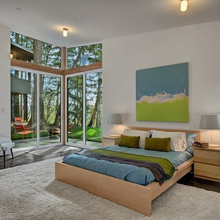 Inspiration for a contemporary bedroom remodel in Seattle with white walls and no fireplace