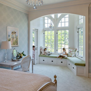 Inspiration for a large timeless carpeted bedroom remodel in Philadelphia with blue walls and no fireplace