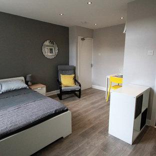 Идея дизайна: маленькая хозяйская спальня в современном стиле с серыми стенами, полом из ламината, фасадом камина из штукатурки и коричневым полом без камина