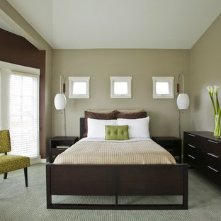 Inspiration for a contemporary master carpeted bedroom remodel in Santa Barbara with gray walls