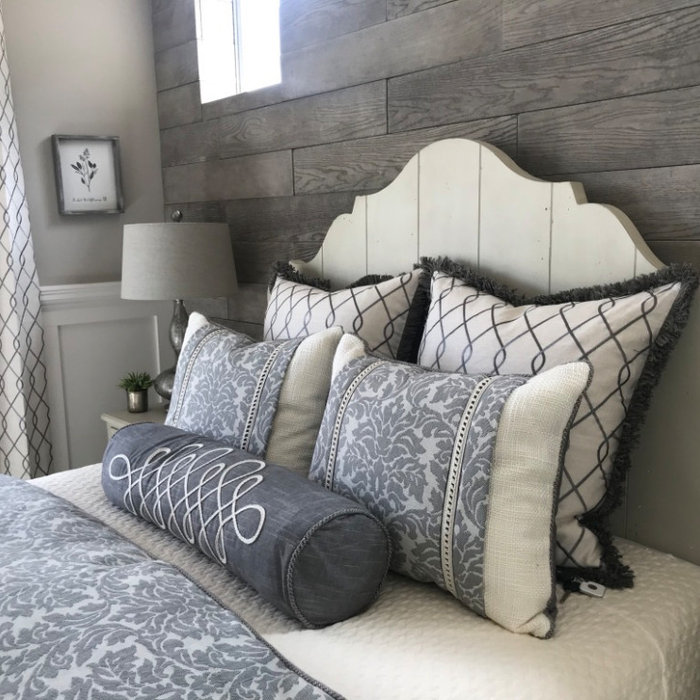 Inspiration for a mid-sized transitional guest porcelain tile and gray floor bedroom remodel in Phoenix with gray walls