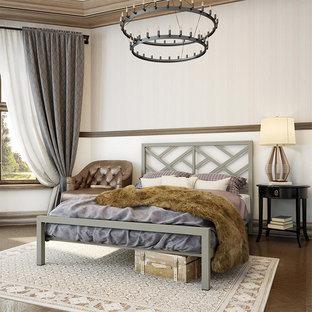デンバーの大きいモダンスタイルのおしゃれなゲスト用寝室 (白い壁、カーペット敷き、コーナー設置型暖炉、金属の暖炉まわり、マルチカラーの床) のレイアウト