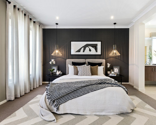 This Is An Example Of A Contemporary Master Bedroom In Melbourne With Black  Walls, Carpet