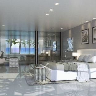 Bedroom - contemporary ceramic floor bedroom idea in Miami with no fireplace